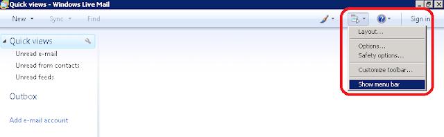 Aktifkan Menu Bar Windows live Mail
