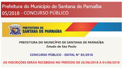Concurso da Prefeitura de Santana de Parnaíba 2018