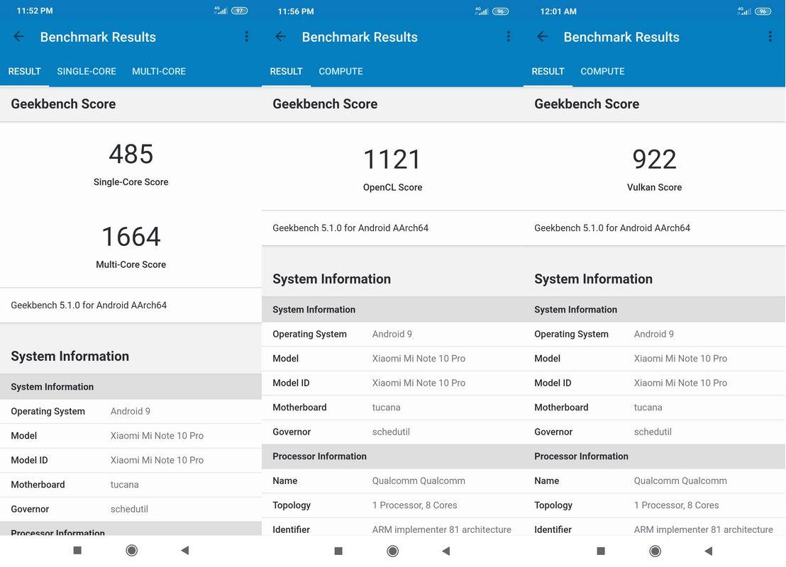 Benchmark Geekbench 5 Xiaomi Mi Note 10 Pro