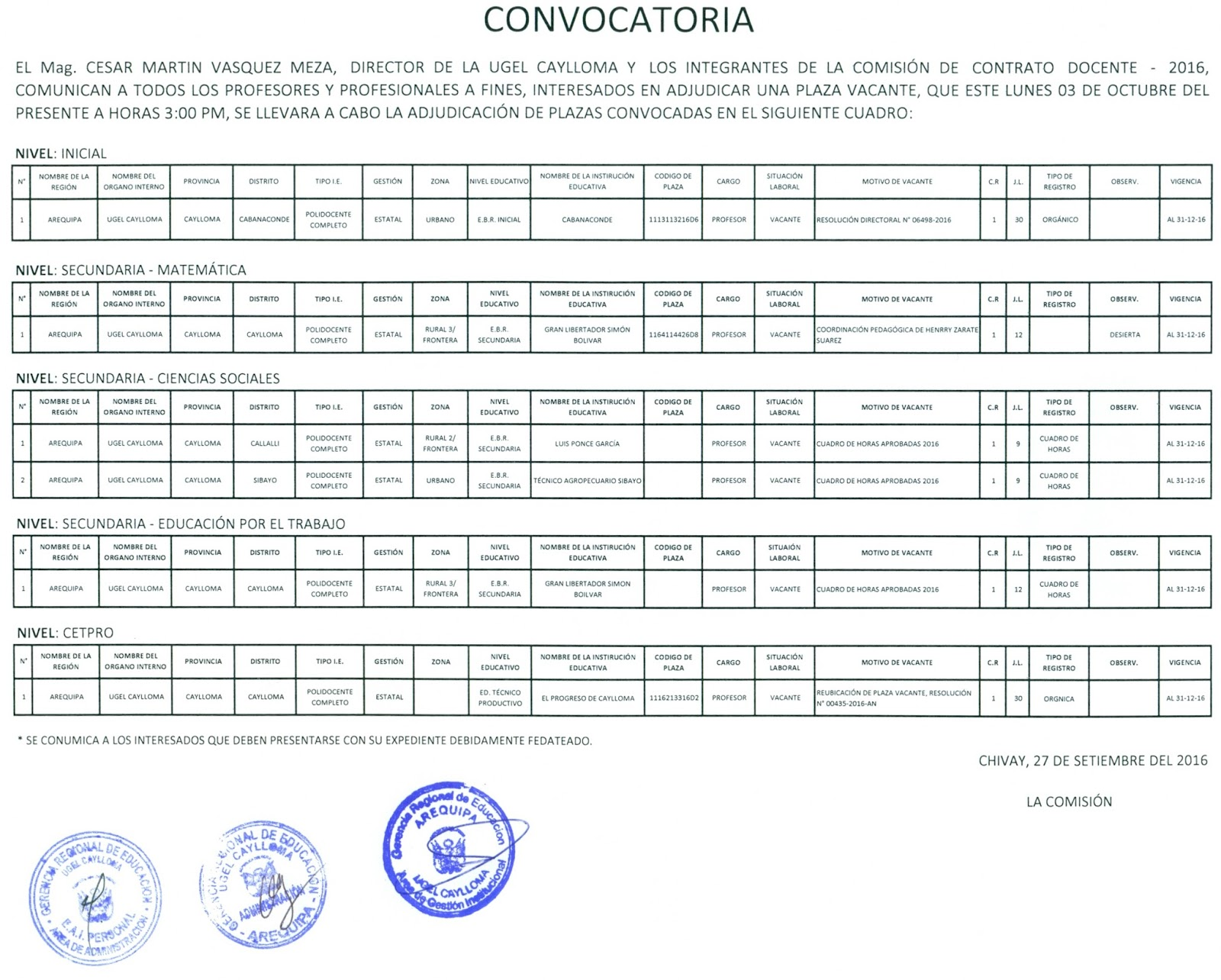 Convocatoria plazas docente ugel caylloma for Sep convocatoria plazas 2016