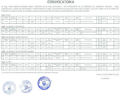 Convocatoria plazas docente ugel caylloma for Convocatoria para plazas docentes
