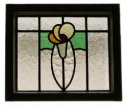 Antique Stained Glass Transom Window from UK in our Bedroom