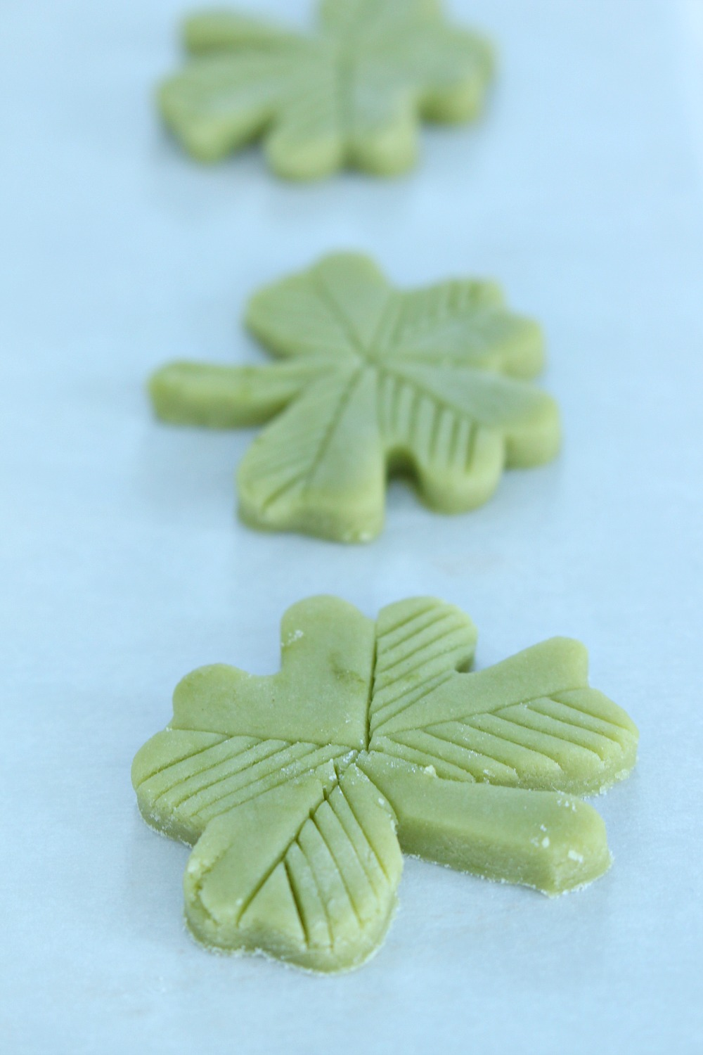 Make four leaf clover shaped cookies