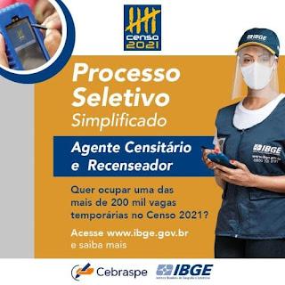 IBGE abre 17 vagas de trabalho temporário para Ibicoara