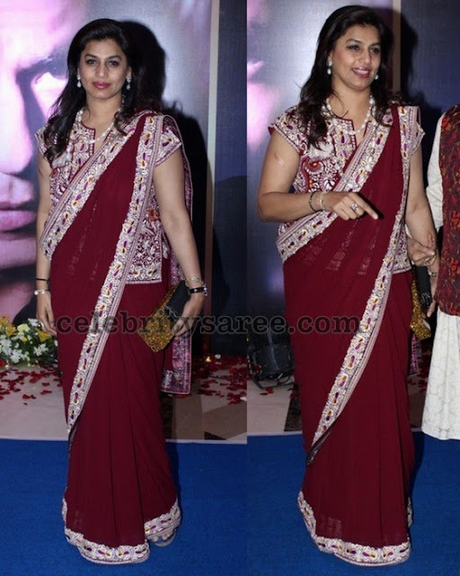 Pink Reddy Maroon Saree Full Blouse