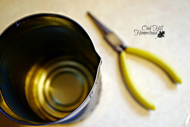 Use a tin can to melt beeswax