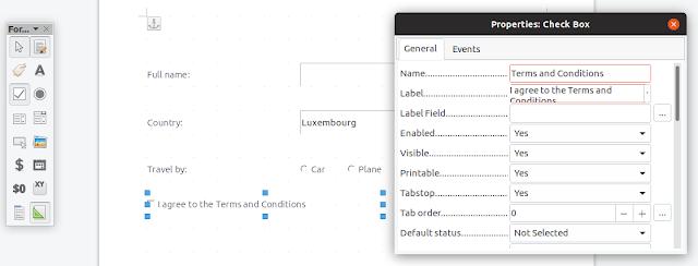 LibreOffice edit checkbox properties