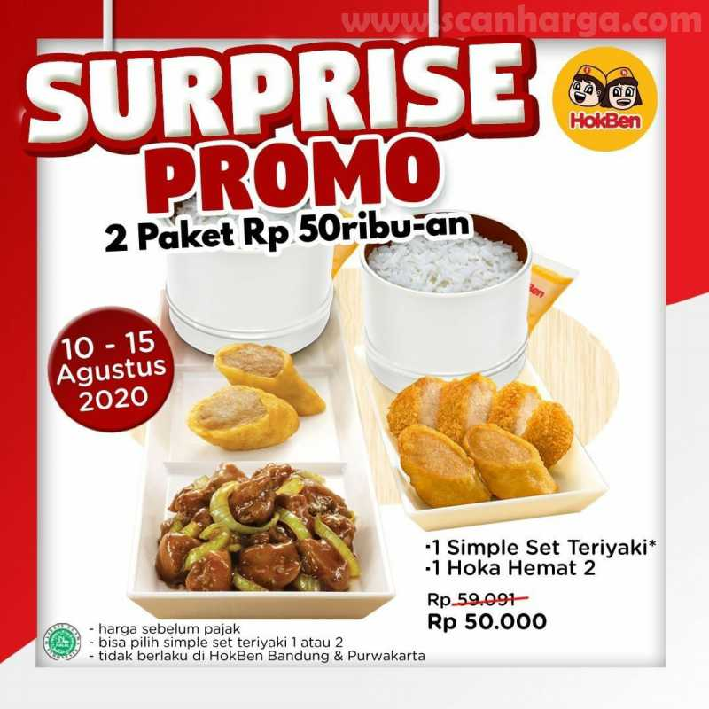Hokben Surprise Promo 2 Paket Cuma Rp 50 Ribuan Periode 10 - 15 Agustus 2020