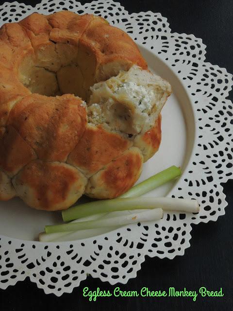Eggless Cream Cheese  Herbed Monkey Bread.