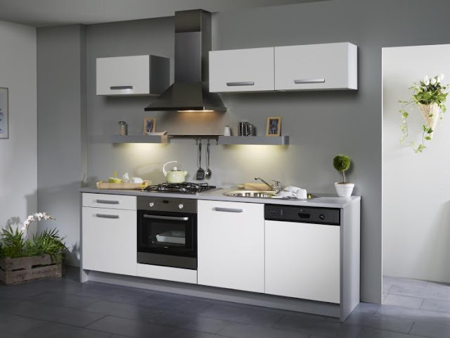 armoire de cuisine blanche moderne. Black Bedroom Furniture Sets. Home Design Ideas