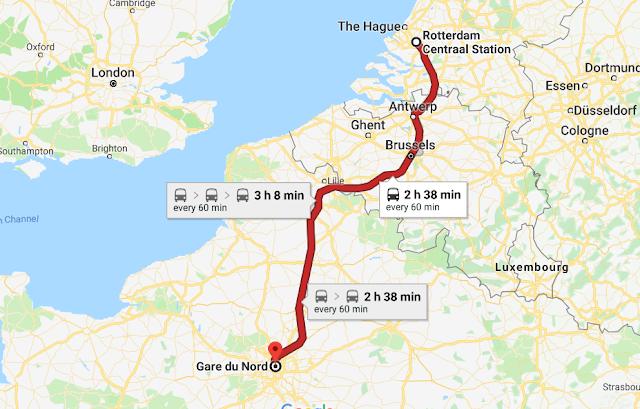 Mapa viagem de trem de Paris a Roterdã