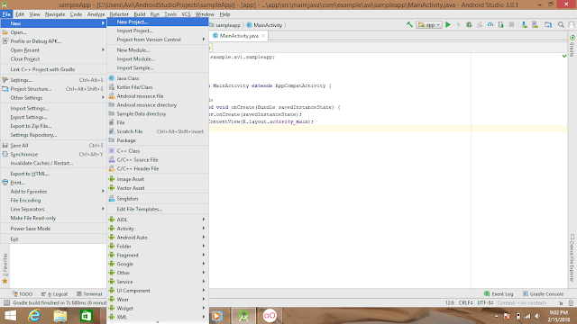 for creating a new project in android studio