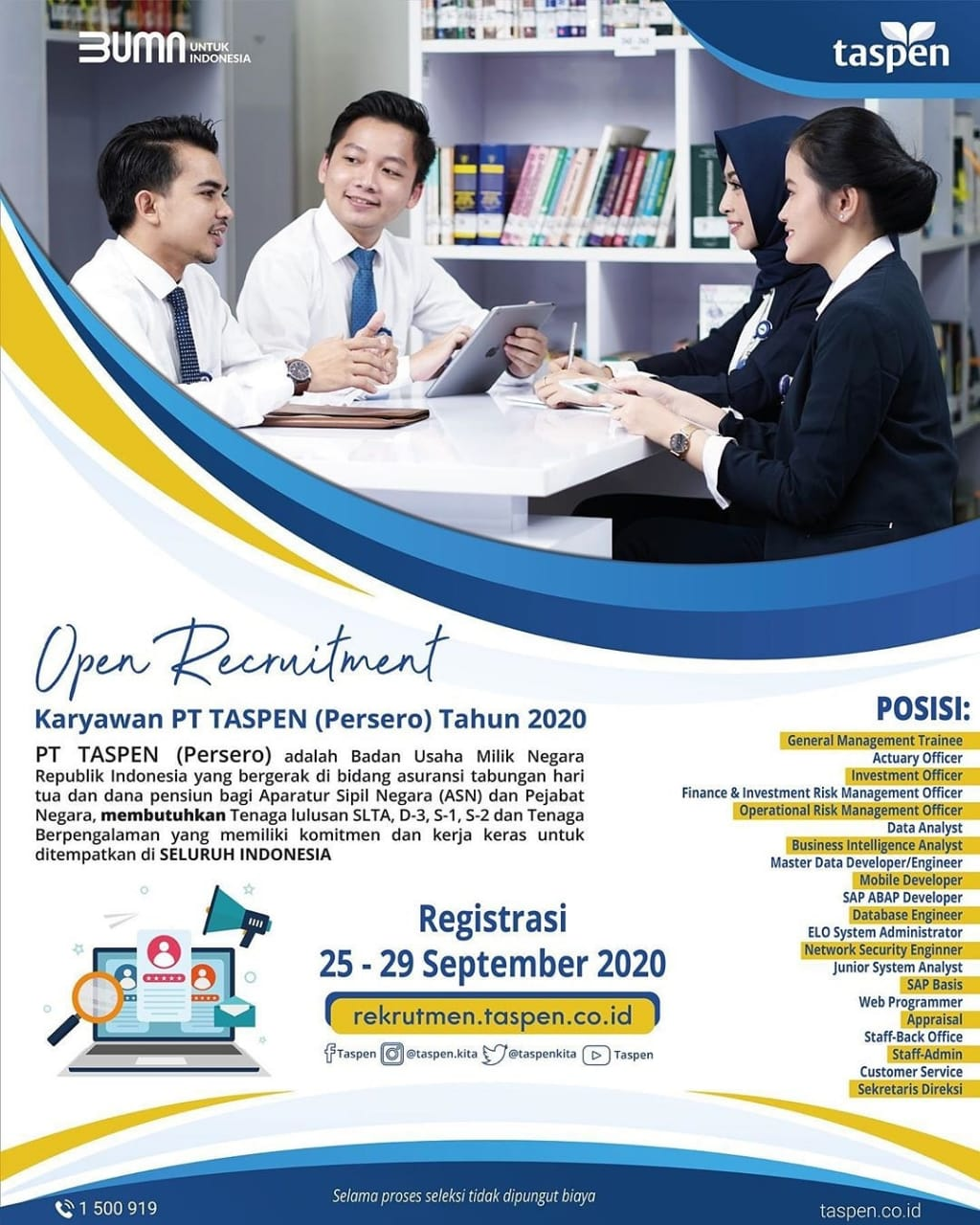 Lowongan Kerja Bumn Terbaru September 2020 Di Pt Taspen Medanloker Com Lowongan Kerja Medan