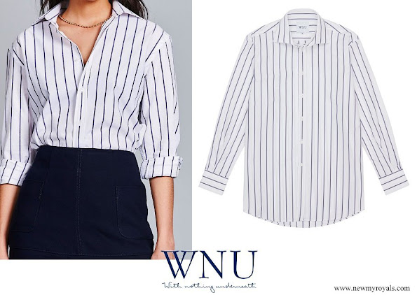 Meghan Markle wore WNU White and Midnight Blue Stripe Shirt