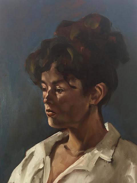 Clair obscur portrait of a woman by Philine van der Vegte
