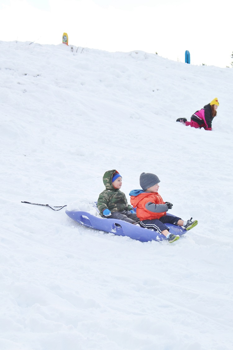 It's fun (and a little scary) to go sledding with a couple of toddlers.  Click through to get some tips for your own little one!