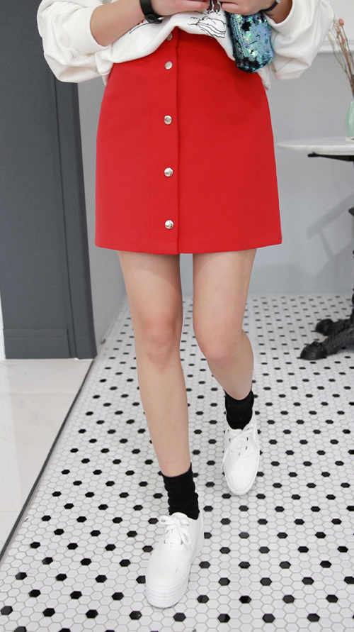 Snap-Front A-Line Mini Skirt