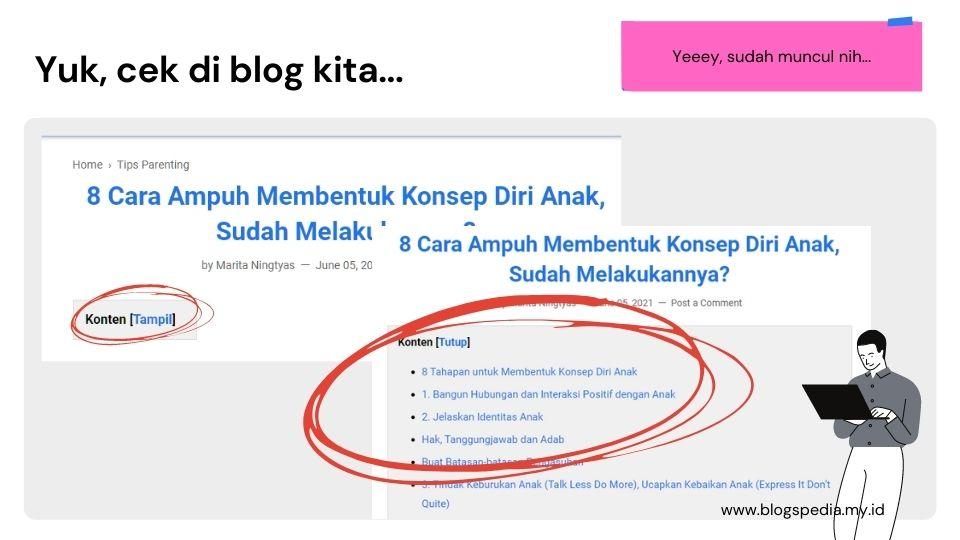 table of contents di blogspot