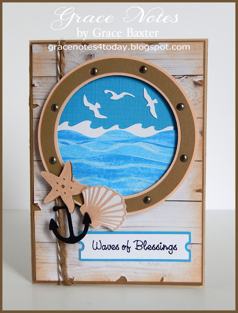 sea & porthole masculine birthday card, front. By Grace Baxter