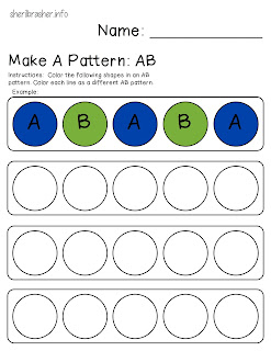 Preschool Printables: Make A Pattern, AB. This introductory practice page about making patterns in a great addition to your math lesson. Patterns exist in everyday life and students who can recognize patterns are better at solving problems.