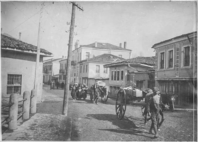 In the streets of Bitola (Monastir) - March 1917.  Transportation of the victims of the bombing