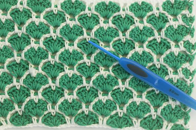 5 - Crochet Imagen Puntada a crochet de corazones y abanicos por Majovel Crochet