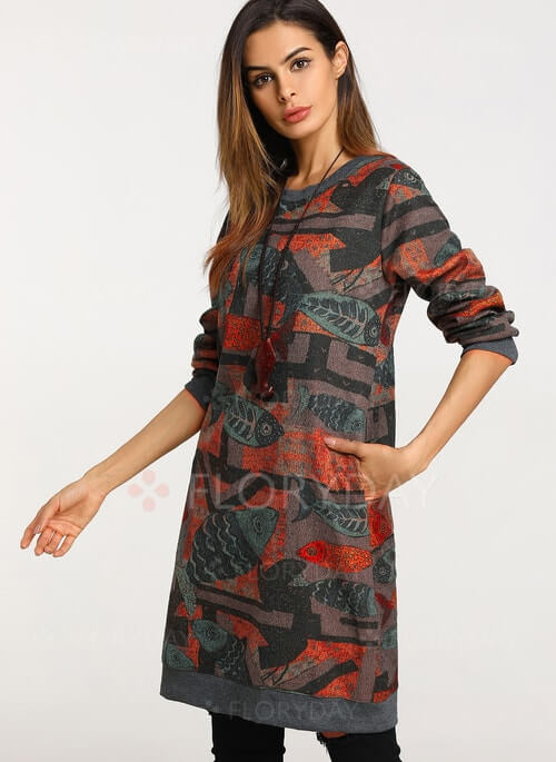 Floral Long Sleeve Knee-Length Shift Dress
