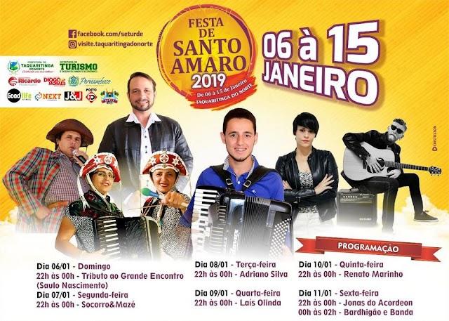 Confira a programação da Festa de Santo Amaro 2019, em Taquaritinga do Norte
