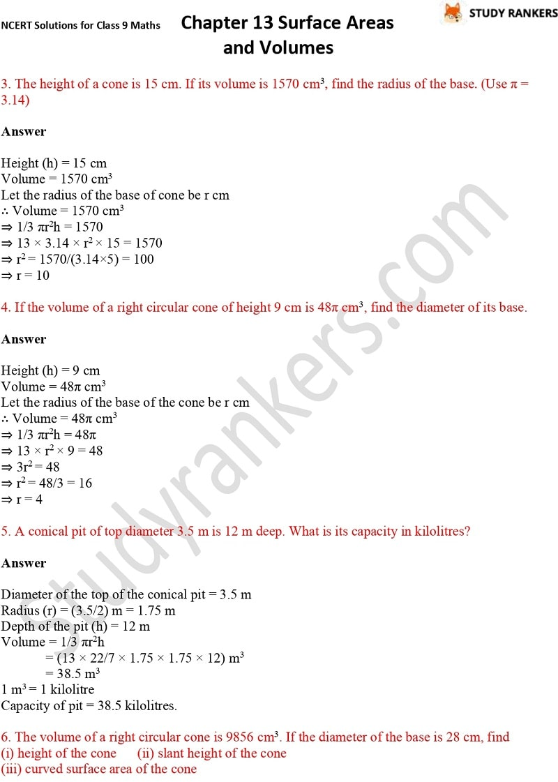 NCERT Solutions for Class 9 Maths Chapter 13 Surface Areas and Volumes Part 19