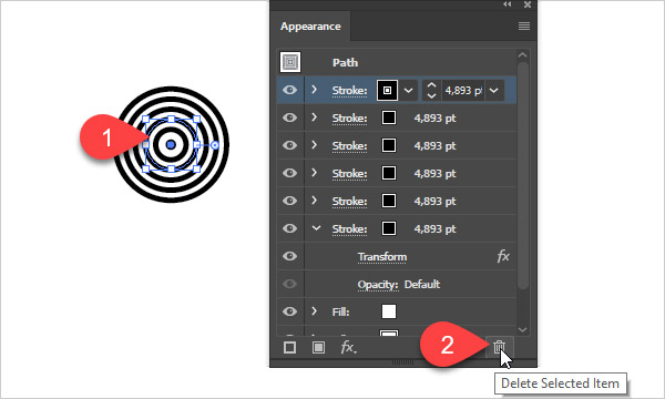 Delete selected attribute from appearance panel in illustrator