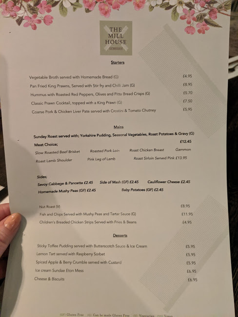 The Mill House Birtley Menu & Review  - Sunday menu