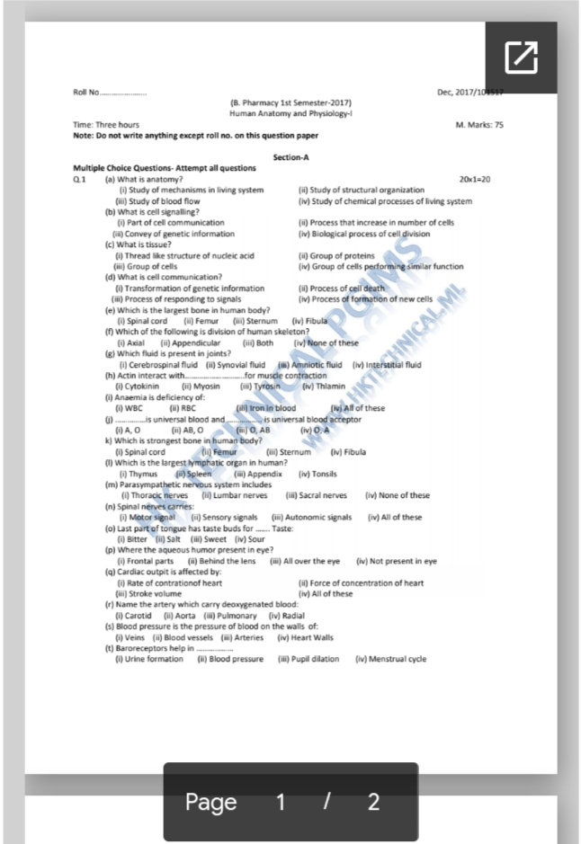 B Pharmacy PGIMS Rohtak previous years question papers anatomy and physiology