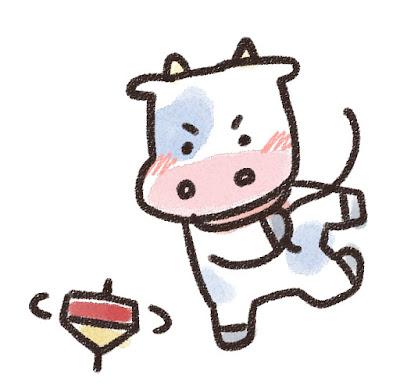 コマ回しをする牛のイラスト(丑年)