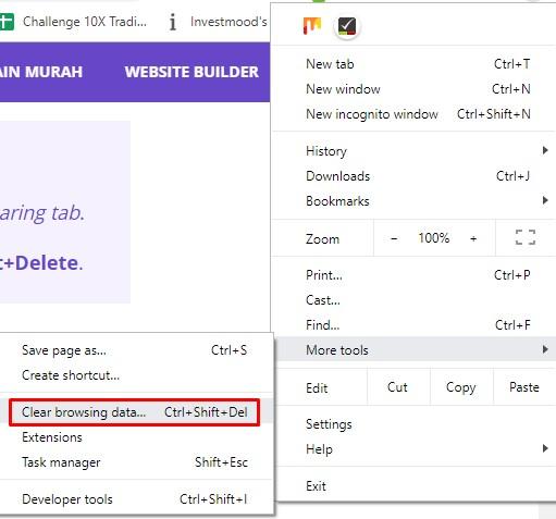 delete browsing data