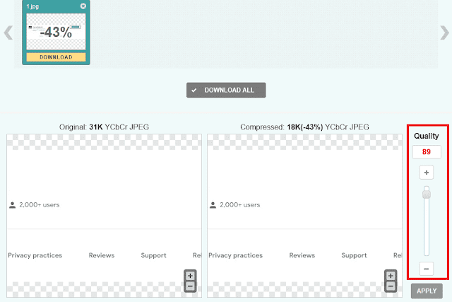 CompressJPEG - Modify compression quality