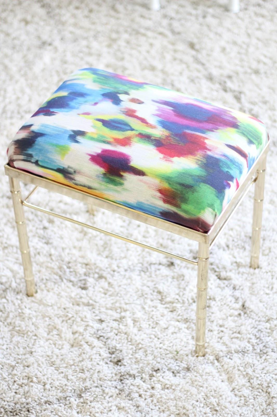Vanity Stool Diy Stool: DIY Vanity Stool Reupholstery