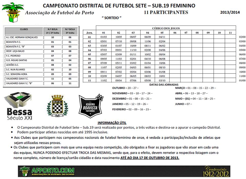 Calendário do Campeonato distrital de Futebol 7 da A.F. Porto ... 02a3f6057784e