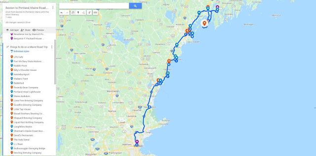 Boston to Portland Maine road trip map