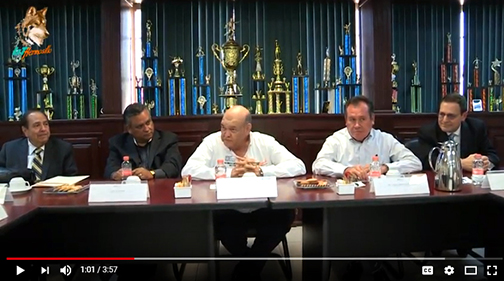 snapshot of YouTube video of signing meeting