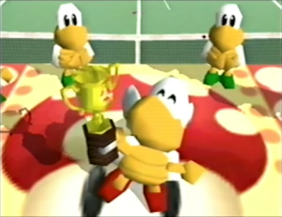 Mario Tennis 64 Paratroopa trophy celebration