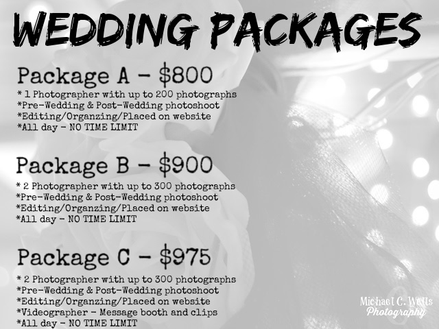 Michael C  Wells Photography: Photoshoot Pricing