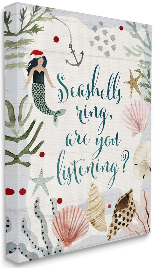 Seashells Christmas Canvas Art