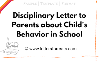 Disciplinary Letter to Parents about Child's Behavior in School