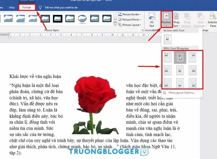 Các cách di chuyển vị trí hình ảnh trong Word