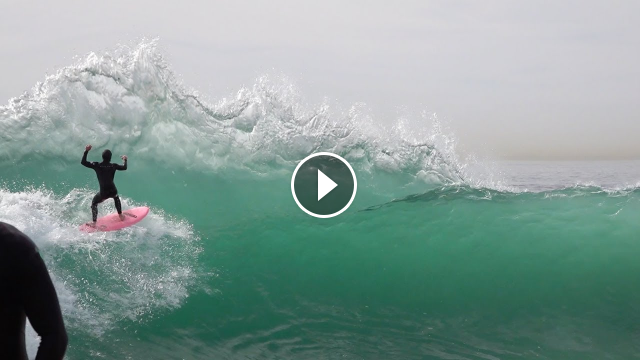 Surfers and Skimboarders CHARGE first WEDGE swell 2020