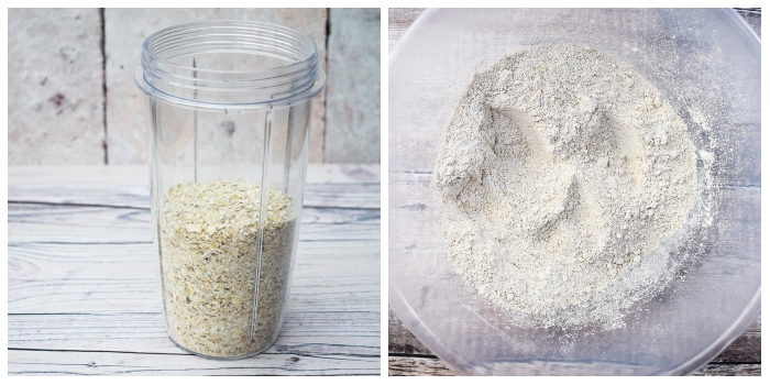 making oat flour using porridge oats in a blender