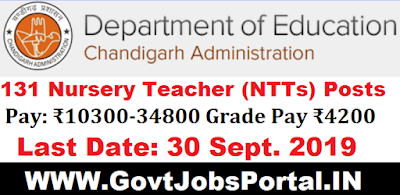 Chandigarh Education Department Recruitment 2019  - Govt Jobs for 131 Nursery Teachers