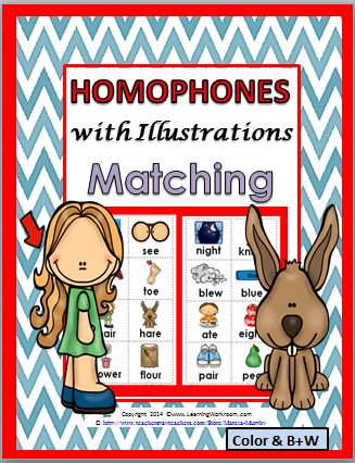 http://www.teacherspayteachers.com/Product/Homophones-with-Illustrations-Matching-Activity-Color-BW-1288111