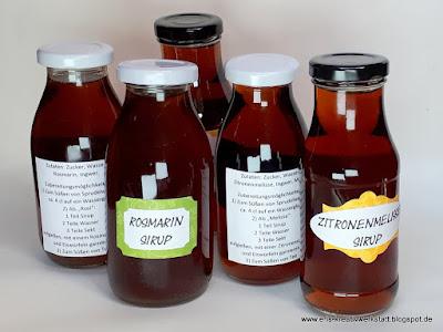 Teamtreffen: Rosmarin- und Zitronenmelissesirup als Goodies Stampin' Up! www.eris-kreativwerkstatt.blogspot.de