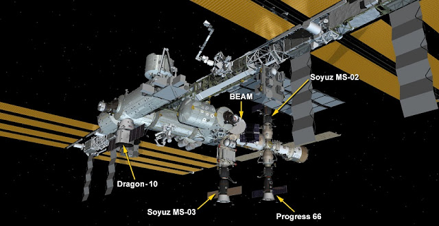 The current visiting vehicle configuration at the International Space Station as of Feb. 24, 2017. Progress MS-05 is labeled as Progress 66. Image Credit: NASA